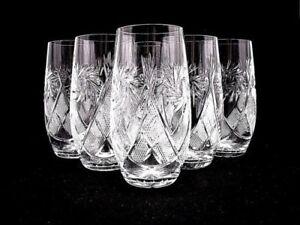Russian Crystal Highball Beverage Glasses 10-oz. Vintage Drink-ware Set of 6
