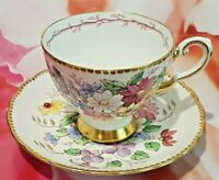 VINTAGE TUSCAN FOOTED TEACUP AND SAUCER GOLD TRIM FLORAL