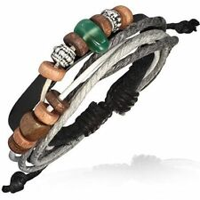 Lederarmband echt Leder Armband Karma Holz Perlen Baumwollbänder Surfer L20