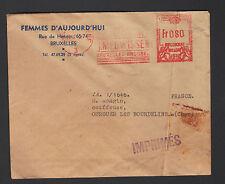 """BRUXELLES (BELGIQUE) Ets. IMPRIMERIE """"FEMMES D'AUJOURD'HUI"""" voyagée en 1952"""