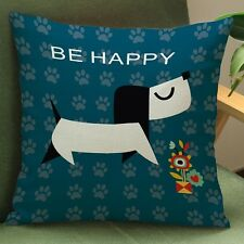 """Be Happy"" Dog Cushion Cover"