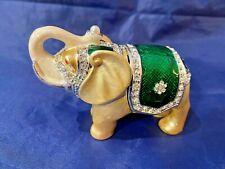 Green Enameled Elephant Trinket Box