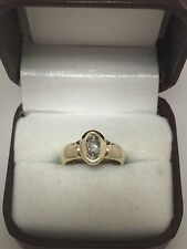 10k Yellow Gold Round .25ct Bezel Set Diamond Solitaire Engagement Ring Sz 4.25
