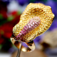 NATURAL HEATED PINK WITH YELLOW SAPPHIRE DIAMOND CUT ORCHID RING 925 SILVER