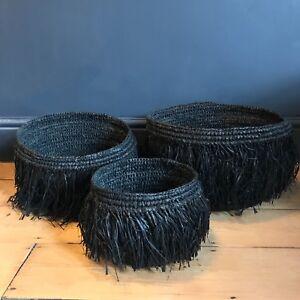 1 x Large Black Tassel Basket 37cm, Raffia Straw Fringed Planter Chic Storage