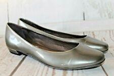 ATTILIO GIUSTI LEOMBRUNI AGL Metallic Gray Leather Ballet Flats Sz 37.5/7.5