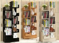 1.5m Wooden 10 Storage Shelving Bookcase CD Shelf Drawer Ornament Display Stand