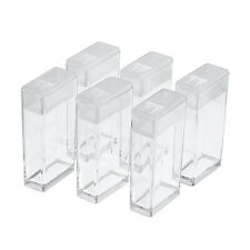 6 pcs Clear Rectangle Plastic Bead Storage Containers 50x27x12mm Hole 9x10mm