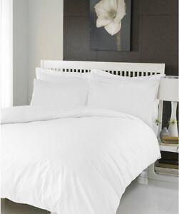 100% Cotton WHITE Duvet Cover Bedding Set Single Double King Super King