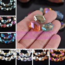 5/10pcs 18X13mm Flatback Faceted Crystal Glass Loose Spacer Beads Jewelry Making