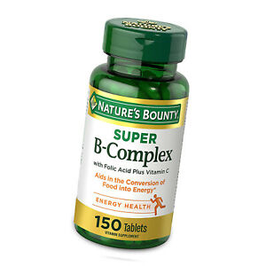 Nature's Bounty Super B-Complex with Folic Acid Plus Vitamin C 150 Tablets