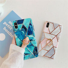 Hot Ring Marble Plating Glossy Phone Case For iPhone 11pro XS MAX XR X 7 6 Plus
