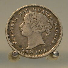 1893 Flat Top 3 Canada Silver 10 Cent Coin