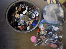 HUGE Lot Old BUTTONS Craft wood plastic Color metal Vtg Lot 2LBS + sewing in Tin