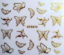 Oro Mariposas 3d Nail Art Sticker Calcomanía decoración Manicura