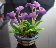 Purple Calla Arum Lily Plant in Pot Dollhouse Miniatures Deco Garden