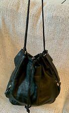 Large *BLACH* Soft Black Leather Bucket Hobo Drawstring Shoulder Bag