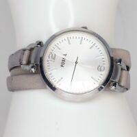 "ES3159 Fossil Georgia Women's watch Silver 32 mm 6.5"" Quartz Leather band"