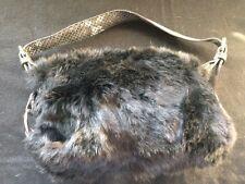 Rabbit fur purse Black Faux Croc strap & Trim attached coin purse Shoulder S