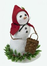2020 Byers Choice Small Snowman w/Basket & Greens Red Cape Cute New Design