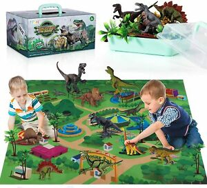 TEMI Dinosaur Toy Figure w/ Activity Play Mat & Trees, Educational Realistic Toy