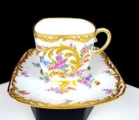 "BOURDOIS & BLOCH PARIS PORCELAIN FLORAL GILT FLOURISHES 2 1/2"" CUP & SAUCER 1880"