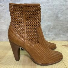 Frye Celeste Short Woven Size 10 Womens Brown Whiskey Leather Zip Booties