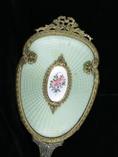 Antique French Bronze Mint Green Guilloche Enamel Victorian Hand Mirror Vanity