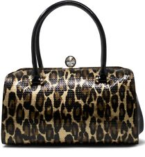 Uk LADIES HANDLE CLASP PARTY EVENING CLUTCH WOMANS HANDBAGS LEAPORD PRINT PATENT