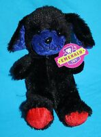 "Emerald Toy PUPPY DOG 8"" Black Red Blue Soft Plush Stuffed Animal New 2015 NWT"