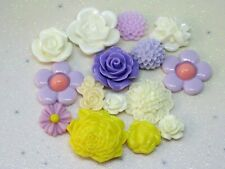 Flower Mix Resin FlatBack x15 Cabochon Decoden Kawaii Craft Embellishment Bow