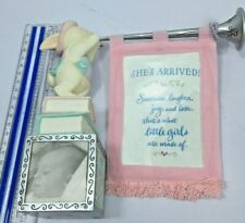 Baby Birth Notice, Girl, Photo Cube, Rabbit Blowing Horn w/Banner, Hallmark
