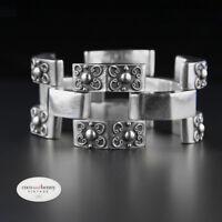 Vintage Mexican Sterling Silver Repousse Hollowware Art Deco 30s 40s Bracelet