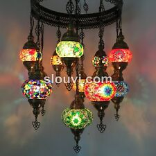 11-BALL TURKISH SULTAN MOSAIC CHANDELIER, Small, Medium and Large Globes