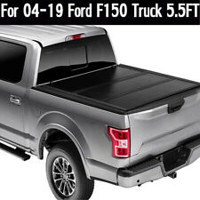 Solid Hard Tri-Fold Tonneau Cover for 2004-2019 Ford F-150 5.5FT Short Bed Cover