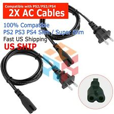 2X 2-Prong Port Ac Power Cord Cable for Ps2 Ps3 Slim Ps4 Laptops Printers