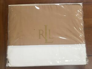 NWT Lauren Ralph Lauren Suite Pieced Glen Plaid Camel Queen Flat Sheet Cotton