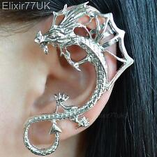 NEW UK SILVER DRAGON SNAKE EAR CUFF CLIP LURE WRAP EARRING GOTHIC PUNK ROCK GIFT