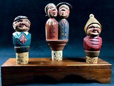 Kissing Wine Cork Bottle Stopper German Hand Carved Mechanical w /very old corks
