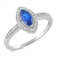 Sterling Silver 925 MARQUISE BLUE SAPPHIRE CLEAR CZ ENGAGEMENT RING SIZES 5-10