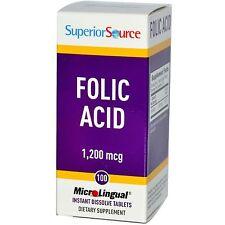 Folic Acid Microlingual 1,200 mg, 100 Instant Dissolve Tablets - Superior Source