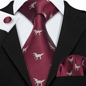 Burgundy Red Mens Necktie Set Dinosaur Ties For Men 100% Silk Animal Wedding Tie