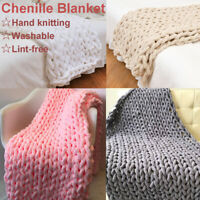 Winter Warm Chunky Knit Blanket Thick Yarn Hand Woven Bulky Knitted Throw Decor