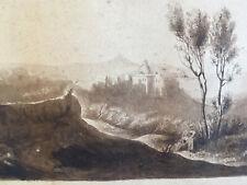 Très beau Dessin Lavis encre 1850 paysage château très belle ombre