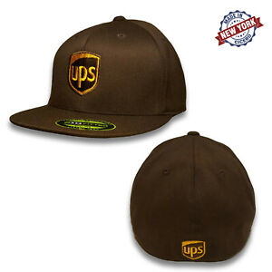 UPS Embroidered Front & Back Fitted Flat Brim Flexfit Brown Baseball Cap Hat