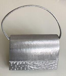 Silver Satin Beaded Mini Evening Bag - Unused