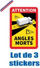 3 Sticker Autocollant OFFICIEL ANGLE MORT obligatoir sécurité camion camping car