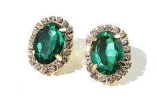 Gold Faux Smaragd Grün Silberfarben Ovale Ohrringe Vintage 1920s Strass Z44