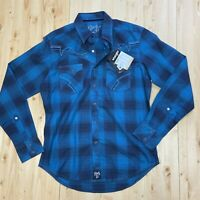 Rock 47 by Wrangler Long Sleeve Button SNAP Western Shirt Plaid Mens Medium NWT
