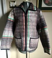 Vintage women's Mexican style 100% Wool Plaid jacket size S/M ethnic No Tags